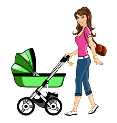 Beautiful Mother with Baby Cart vector image