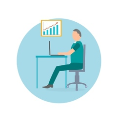 Businessman with laptop in office chair vector