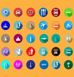 Travel icons set in a flat style vector