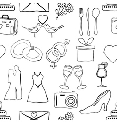 Seamless doodle wedding pattern vector