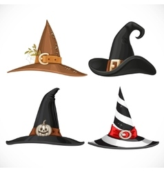 Witch hat with straps and buckles isolated on vector image