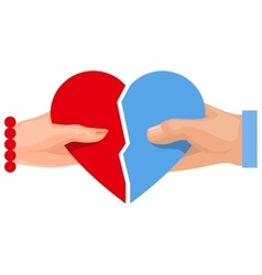 Female and male hand holding heart symbol of love vector