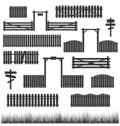 Set of black fences with gates vector