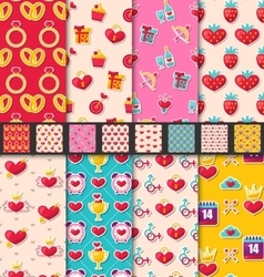 Set seamless patterns for valentines day vector