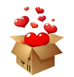 Box with flying hearts vector