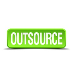 Outsource green 3d realistic square isolated vector