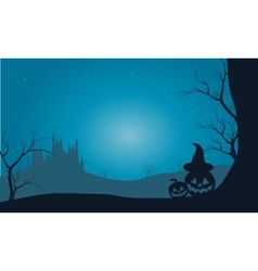 Halloween pumpkins and castle with fog scenery vector image
