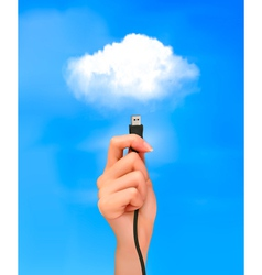 Hand holding cable connected to the cloud vector image