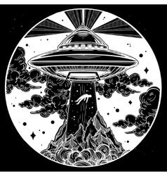 Alien spaceship abduction UFO art vector image