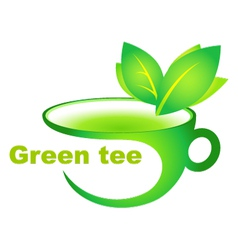 cup of green tea vector image