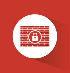 cyber secuirty padlock firewall protection vector image