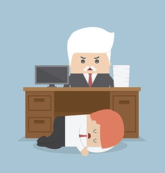 Employee sleeping under his desk and angry boss vector image vector image