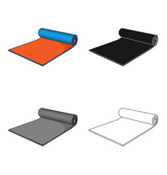 Fitness mat icon in cartoon style isolated on vector
