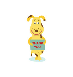 flat dog character with thank you poster vector image vector image