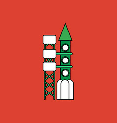 Flat icon design collection rocket station vector