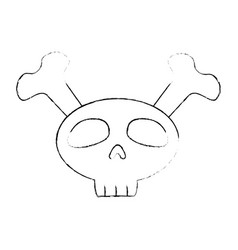 funny skull with bones crossed vector image vector image