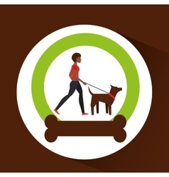 Girl afro walking a brown dog vector