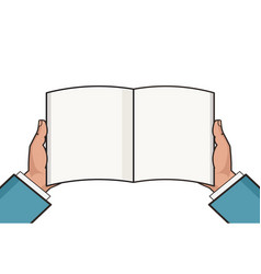 Hands with open blank book template knowledge vector