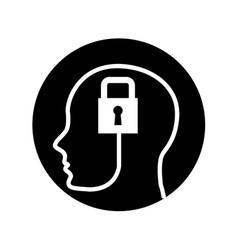 human profile with padlock vector image vector image