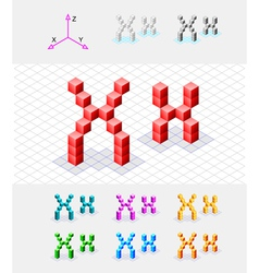 Isometric font from the cubes Letter X vector image