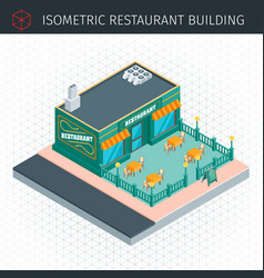 isometric restaurant house vector image vector image