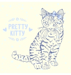 kitten sketch with a bow vector image vector image