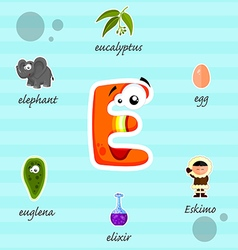 Letter e with words vector