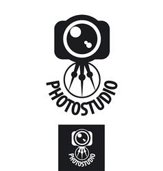 Logo for the photographer camera on a tripod vector