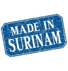 Made in surinam blue square grunge stamp vector