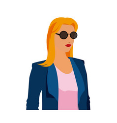 Portrait of beautiful blonde girl in sunglasses vector