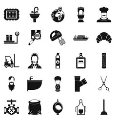 Service staff icons set simple style vector