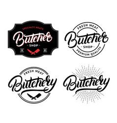 Set of butcher shop and butchery lettering logo vector
