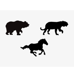 silhouetttes of horse big cat and bear icons image vector image vector image