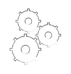 Sketch gear teamwork collaboration icon vector