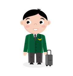 smiling little boy in pilot uniform with bag vector image vector image