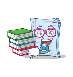 Student with book notebook character cartoon vector