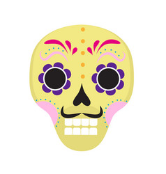 Sugar skull icon flat cartoon style cute dead vector