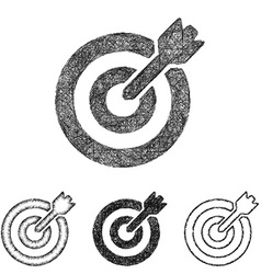 Target icon set - sketch line art vector