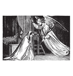 The annunciation gabriel appears to mary vintage vector