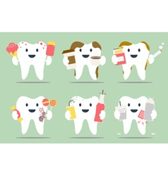Unhealthy teeth set vector