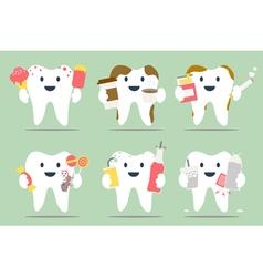 unhealthy teeth set vector image vector image