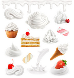 Whipped cream milk ice cream cake cupcake candy vector