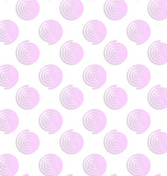 White colored paper pink round spirals vector image vector image
