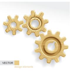 Wooden gears vector