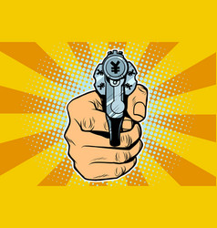 yen currency money finance revolver in hand vector image vector image
