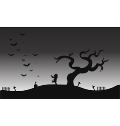 Zombie and bat halloween scenery silhouette vector image