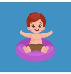 Boy in swimsuit isolated kids summer vacation vector