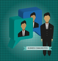 Business communication with 3d bubbles and roles f vector