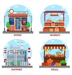 Local store or shop market and stall with goods vector