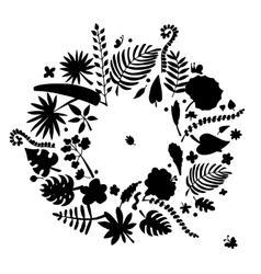 Tropical plants frame sketch for your design vector image